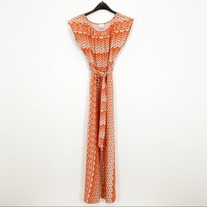 Hit & Delicious Orange & Tan Maxi Dress Size Small